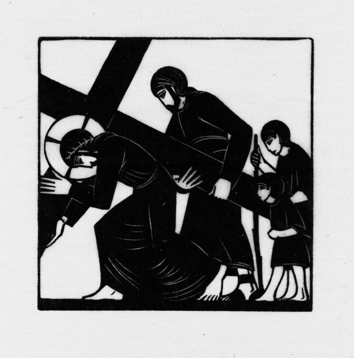 Simon of Cyrene Helps Jesus to Carry the Cross 1917 by Eric Gill 1882-1940